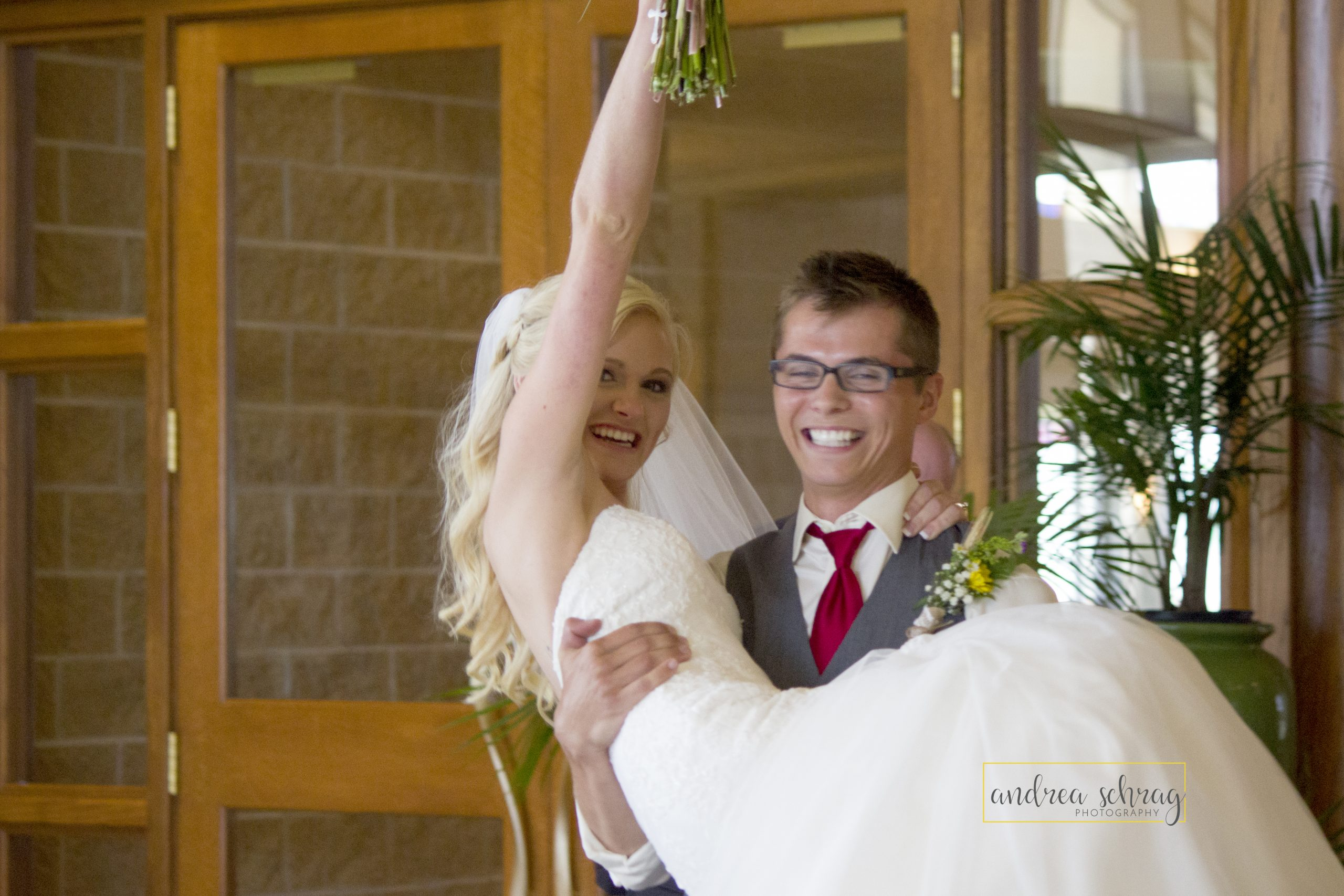 bride and groom celebrating just married