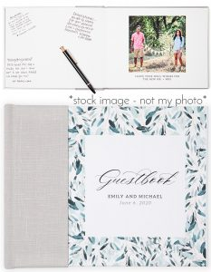 wedding guest photo book for blog post about what to wear to your engagement session