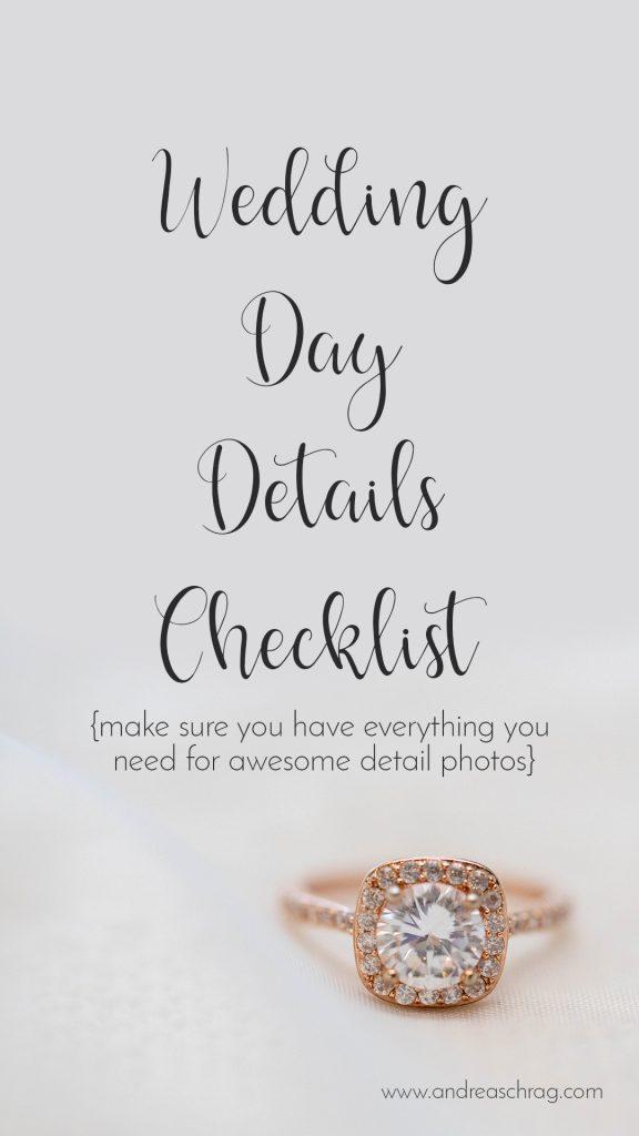 wedding day details checklist Pinterest image