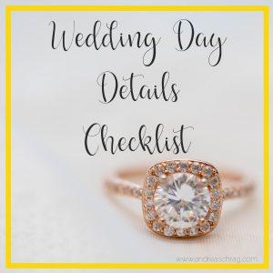 wedding day details checklist