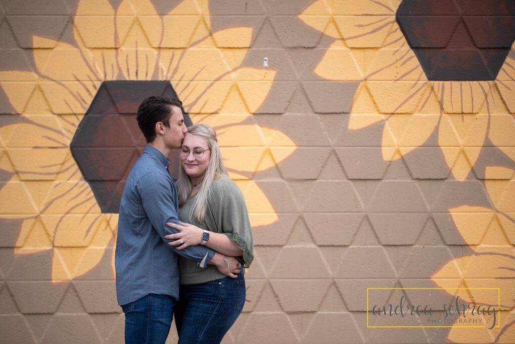 painted sunflower engagement session